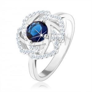 925 ezüst gyűrű, csillogó virág körvonal, kék kerek cirkónia