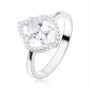 Gyűrű 925 ezüstből, átlátszó cirkóniás könnycsepp, csillogó levél kontúr
