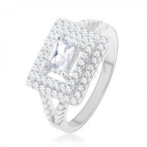 Gyűrű 925 ezüstből, átlátszó cirkónia - téglalap, csillogó keret, kettős szárak