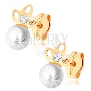 375 arany fülbevaló - fehér gyöngy, csúcsos lóhere kivágásokkal