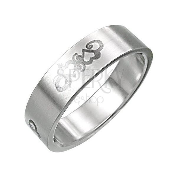 Nemesacél gyűrű - szív ornamentumok