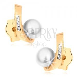 Bedugós fülbevaló 9K sárga aranyból - gyöngy, hajlított vonal cirkóniákkal