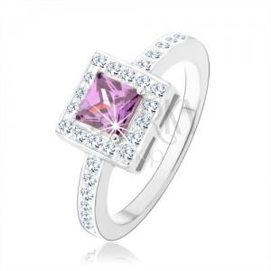 Gyűrű 925 ezüstből, lila cirkóniás négyzet, átlátszó csillogó keret