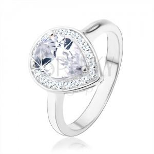 925 ezüst gyűrű, átlátszó könnycsepp - cirkónia, csillogó keret, kivágások