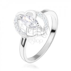 Eljegyzési gyűrű, 925 ezüst, átlátszó cirkóniás magszem, összekapcsolt szívek