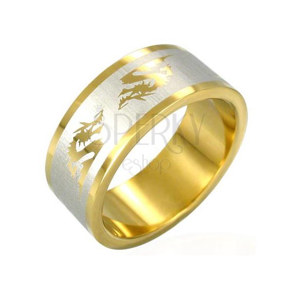 Aranyozott acél gyűrű - kínai sárkány szimbólumok