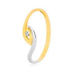 375 arany gyűrű - egyenetlenül hajlított szárvégek, csillogó cirkónia