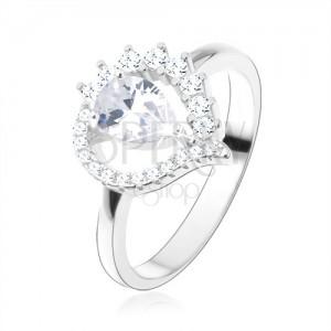 Gyűrű 925 ezüstből, aszimmetrikus könnycsepp - körvonal, átlátszó cirkóniás csepp