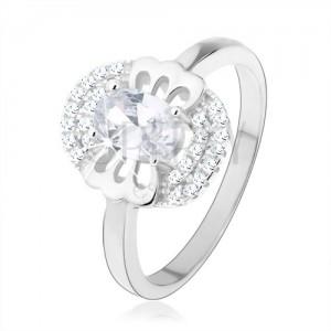 Eljegyzési gyűrű 925 ezüstből, átlátszó cirkónia - pillangó, kettős keret