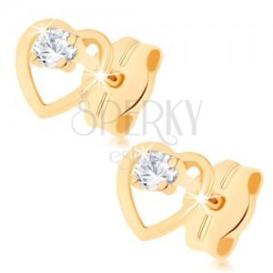 Fülbevaló 9K sárga aranyból - átlátszó cirkónia egyenletes szív kontúrban