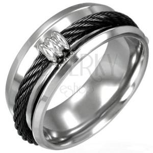 Gyűrű acélból - fekete kötél mintázat