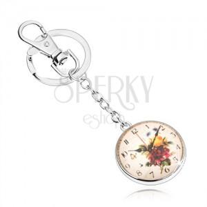 Kulcstartó cabochon stílusban, átlátszó kidomborodó üveg, óra motívum virágokkal