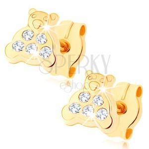 Fülbevaló 9K sárga aranyból - maci csillogó hassal