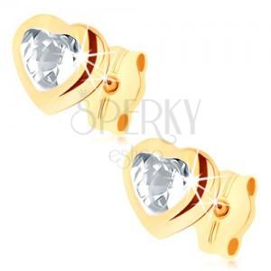 Bedugós fülbevaló 9K aranyból - átlátszó cirkóniás szív, fényes körvonal