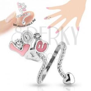 """Állítható gyűrű körömre, rózsaszín-fehér """"Love"""" felirat, átlátszó cirkóniák"""