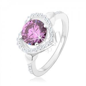 925 ezüst gyűrű, kerek cirkónia tanzanit színben szív kontúrban