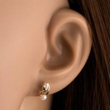 Fülbevaló sárga 9K aranyból - kétszínű ívelt vonal, fehér gyöngy