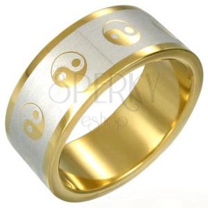 Aranyozott gyűrű - Jin Jang szimbólumok
