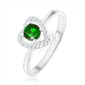 Gyűrű 925 ezüstből, csillogó szív kontúr, zöld kerek cirkónia