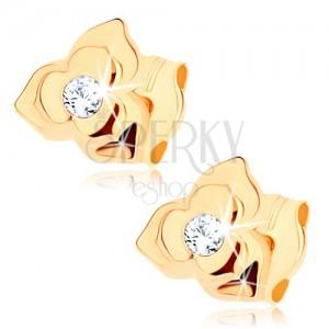 Fülbevaló 9K sárga aranyból - virág kettőzött szirmokkal, tiszta cirkónia