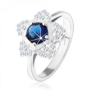 Eljegyzési gyűrű, 925 ezüst, csillogó virág, kerek kék cirkónia