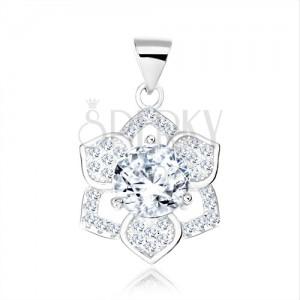925 ezüst medál, kerek, átlátszó cirkónia, csillogó hatszirmú virág