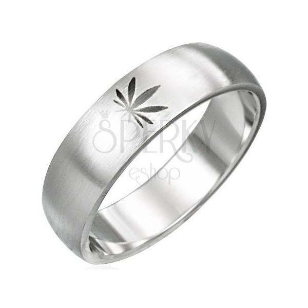 Sebészeti acél gyűrű - marihuána motívum