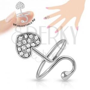 Állítható gyűrű körömre, ezüst szín, szívecske, félhold, cirkóniák