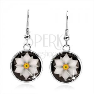 Kaboson fülbevaló, körlap fénymázzal, fehér virág fekete alapon