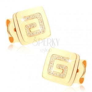 Fülbevaló sárga 9K aranyból - fényes négyzet, szemcsés görögkulcs
