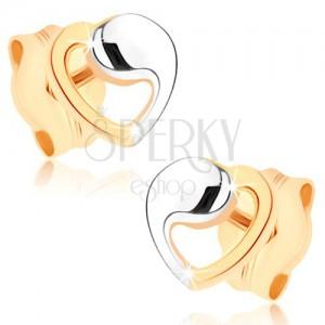 Fülbevaló sárga 9K aranyból - szívkontúr kétszínű kivitelezésben