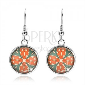 Kaboson fülbevaló, körlap fénymázzal, virág narancs és zöld ornamentumokból