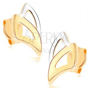 Bedugós fülbevaló 9K sárga aranyból - kétszínű körvonal háromszögekből