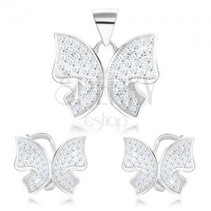 Szett 925 ezüstből - medál és fülbevaló, pillangó, átlátszó cirkóniák