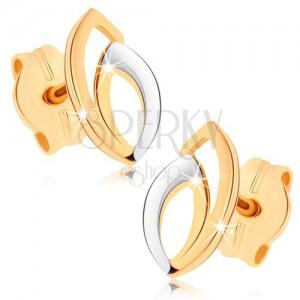 Fülbevaló 9K sárga aranyból - kettős kontúr magszem alakban, kétszínű kivitelezés