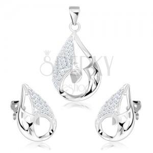 Szett fülbevalóból és medálból, 925 ezüst, könnycsepp - aszimmetrikus kivágás, átlátszó cirkóniák