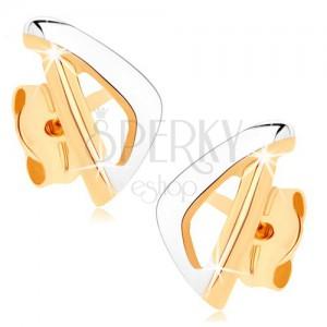 375 arany fülbevaló - aszimmetrikus háromszög körvonal két színben