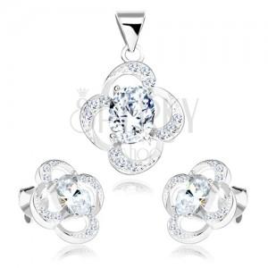 Szett 925 ezüstből, fülbevaló és medál, virág körvonal, átlátszó cirkónia