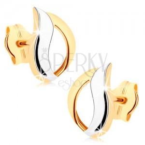 Fülbevaló 9K aranyból - kétszínű könnycsepp kontúr, magas fény