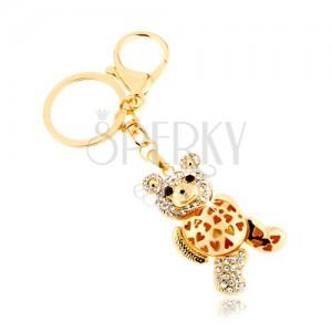 Kulcstartó arany színben, csillogó maci, átltászó cirkóniák, szívecskés kivágások