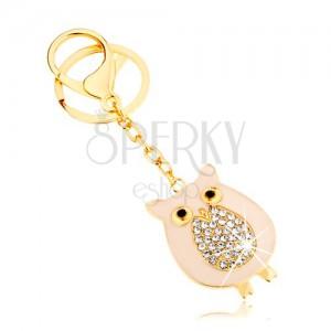 Kulcstartó arany színben, bagoly csillogó hassal láncon