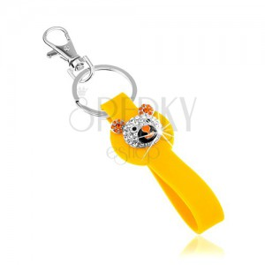 Kulcstartó ezüst színben, sárga medál szilikonból, csillogó medvefej
