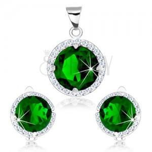 925 ezüst szett, medál és fülbevaló, zöld kerek cirkónia, átlátszó keret