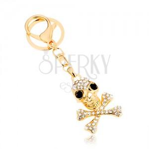 Kulcstartó, arany árnyalat, koponya keresztezett csontokkal, cirkóniák