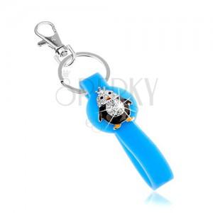 Kulcstartó, kék medál szilikonból, kicsi pingvin, cirkóniák, színes fénymáz