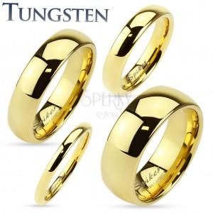 Tungsten gyűrű arany színben, fényes és sima felület, 2 mm