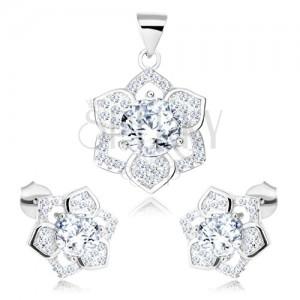 925 ezüst szett, medál és fülbevaló, csillogó virág, átlátszó cirkónia