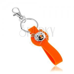 Kulcstartó ezüst színben, narancs színű szilikon medál, csillogó macifej