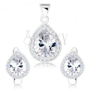 Szett medálból és fülbevalóból, 925 ezüst, átlátszó cirkóniás könnycsepp, csillogó keret