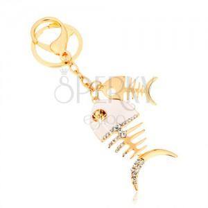 Kulcstartó arany árnyalatban, két fényes halcsont, fehér fénymáz, cirkóniák